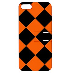 Harlequin Diamond Orange Black Apple Iphone 5 Hardshell Case With Stand by CrypticFragmentsColors