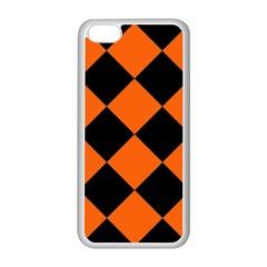 Harlequin Diamond Orange Black Apple iPhone 5C Seamless Case (White)