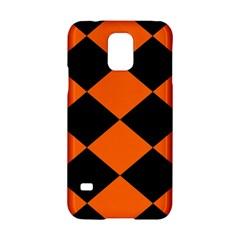 Harlequin Diamond Orange Black Samsung Galaxy S5 Hardshell Case  by CrypticFragmentsColors