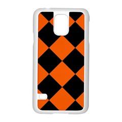 Harlequin Diamond Orange Black Samsung Galaxy S5 Case (white) by CrypticFragmentsColors