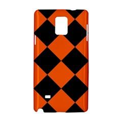 Harlequin Diamond Orange Black Samsung Galaxy Note 4 Hardshell Case by CrypticFragmentsColors
