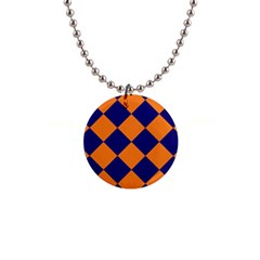 Harlequin Diamond Navy Blue Orange Button Necklace by CrypticFragmentsColors