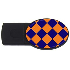 Harlequin Diamond Navy Blue Orange 4gb Usb Flash Drive (oval) by CrypticFragmentsColors