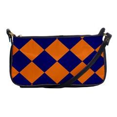 Harlequin Diamond Navy Blue Orange Evening Bag by CrypticFragmentsColors