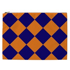 Harlequin Diamond Navy Blue Orange Cosmetic Bag (xxl) by CrypticFragmentsColors