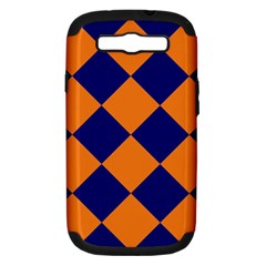 Harlequin Diamond Navy Blue Orange Samsung Galaxy S Iii Hardshell Case (pc+silicone) by CrypticFragmentsColors