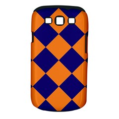 Harlequin Diamond Navy Blue Orange Samsung Galaxy S III Classic Hardshell Case (PC+Silicone) by CrypticFragmentsColors