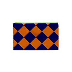 Harlequin Diamond Navy Blue Orange Cosmetic Bag (xs) by CrypticFragmentsColors