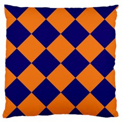 Harlequin Diamond Navy Blue Orange Standard Flano Cushion Case (one Side) by CrypticFragmentsColors