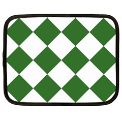 Harlequin Diamond Green White Netbook Sleeve (large) by CrypticFragmentsColors