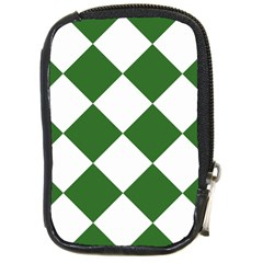 Harlequin Diamond Green White Compact Camera Leather Case by CrypticFragmentsColors
