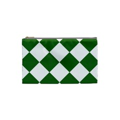 Harlequin Diamond Green White Cosmetic Bag (small) by CrypticFragmentsColors