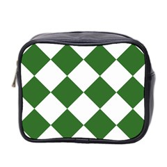 Harlequin Diamond Green White Mini Travel Toiletry Bag (two Sides) by CrypticFragmentsColors