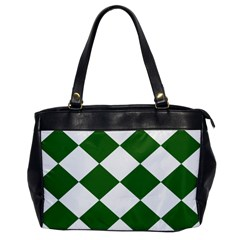 Harlequin Diamond Green White Oversize Office Handbag (one Side) by CrypticFragmentsColors