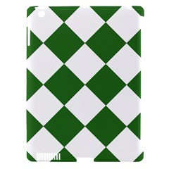 Harlequin Diamond Green White Apple Ipad 3/4 Hardshell Case (compatible With Smart Cover) by CrypticFragmentsColors