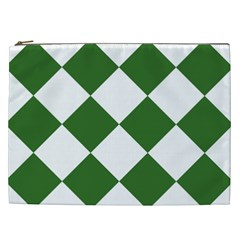 Harlequin Diamond Green White Cosmetic Bag (xxl) by CrypticFragmentsColors