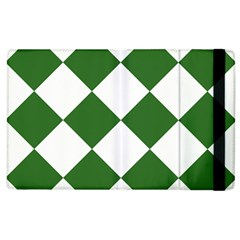 Harlequin Diamond Green White Apple Ipad 3/4 Flip Case by CrypticFragmentsColors