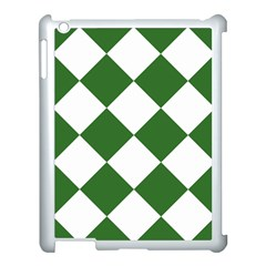 Harlequin Diamond Green White Apple Ipad 3/4 Case (white) by CrypticFragmentsColors