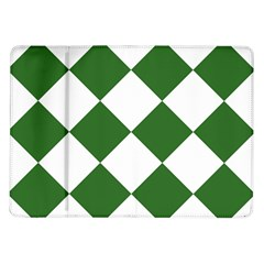 Harlequin Diamond Green White Samsung Galaxy Tab 10 1  P7500 Flip Case by CrypticFragmentsColors
