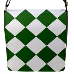 Harlequin Diamond Green White Flap Closure Messenger Bag (small) by CrypticFragmentsColors