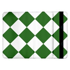 Harlequin Diamond Green White Samsung Galaxy Tab Pro 12 2  Flip Case by CrypticFragmentsColors