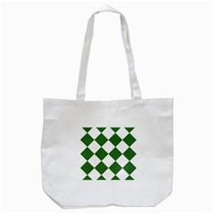 Harlequin Diamond Green White Tote Bag (white) by CrypticFragmentsColors