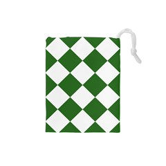 Harlequin Diamond Green White Drawstring Pouch (small) by CrypticFragmentsColors