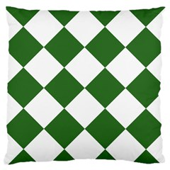 Harlequin Diamond Green White Standard Flano Cushion Case (one Side) by CrypticFragmentsColors