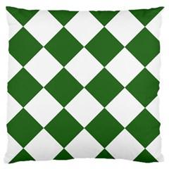 Harlequin Diamond Green White Standard Flano Cushion Case (Two Sides)