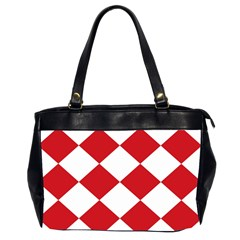Harlequin Diamond Red White Oversize Office Handbag (two Sides) by CrypticFragmentsColors