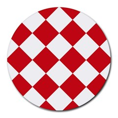 Harlequin Diamond Red White 8  Mouse Pad (round) by CrypticFragmentsColors