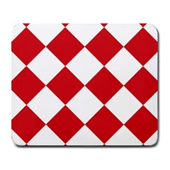 Harlequin Diamond Red White Large Mouse Pad (rectangle) by CrypticFragmentsColors