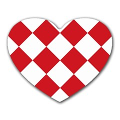 Harlequin Diamond Red White Mouse Pad (heart) by CrypticFragmentsColors