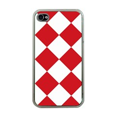 Harlequin Diamond Red White Apple Iphone 4 Case (clear) by CrypticFragmentsColors