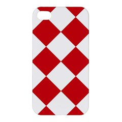 Harlequin Diamond Red White Apple Iphone 4/4s Premium Hardshell Case by CrypticFragmentsColors
