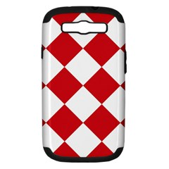 Harlequin Diamond Red White Samsung Galaxy S Iii Hardshell Case (pc+silicone) by CrypticFragmentsColors