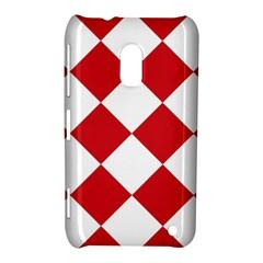 Harlequin Diamond Red White Nokia Lumia 620 Hardshell Case by CrypticFragmentsColors