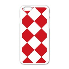 Harlequin Diamond Red White Apple Iphone 6 White Enamel Case by CrypticFragmentsColors