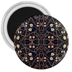 Victorian Style Grunge Pattern 3  Button Magnet by dflcprints