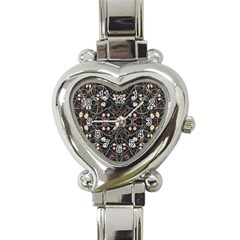 Victorian Style Grunge Pattern Heart Italian Charm Watch  by dflcprints
