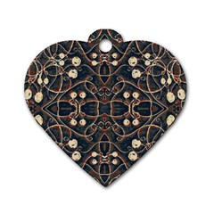 Victorian Style Grunge Pattern Dog Tag Heart (one Sided)  by dflcprints