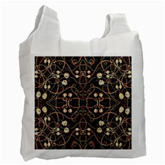 Victorian Style Grunge Pattern White Reusable Bag (one Side) by dflcprints