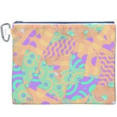Tropical Summer Fruit Orange Lime Berry Canvas Cosmetic Bag (XXXL)