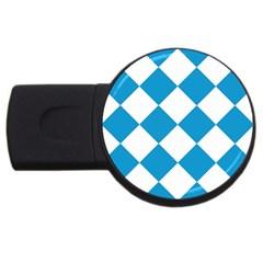 Harlequin Diamond Argyle Turquoise Blue White 4gb Usb Flash Drive (round) by CrypticFragmentsColors