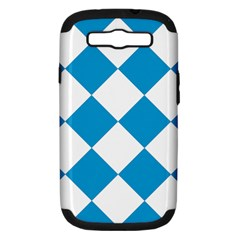 Harlequin Diamond Argyle Turquoise Blue White Samsung Galaxy S Iii Hardshell Case (pc+silicone) by CrypticFragmentsColors