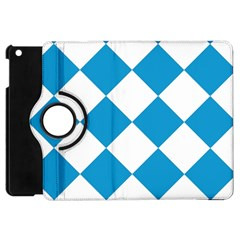 Harlequin Diamond Argyle Turquoise Blue White Apple Ipad Mini Flip 360 Case by CrypticFragmentsColors