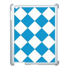 Harlequin Diamond Argyle Turquoise Blue White Apple Ipad 3/4 Case (white) by CrypticFragmentsColors