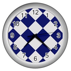 Harlequin Diamond Argyle Sports Team Colors Navy Blue Silver Wall Clock (silver) by CrypticFragmentsColors
