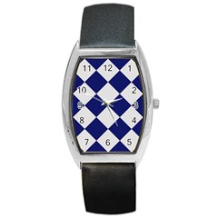 Harlequin Diamond Argyle Sports Team Colors Navy Blue Silver Tonneau Leather Watch by CrypticFragmentsColors