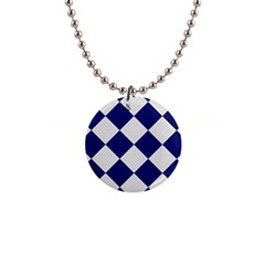 Harlequin Diamond Argyle Sports Team Colors Navy Blue Silver Button Necklace by CrypticFragmentsColors